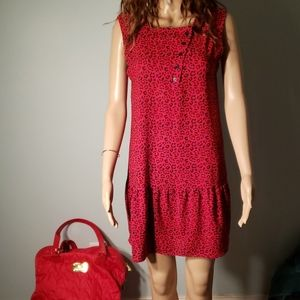 Vintage Red Animal Print Dress
